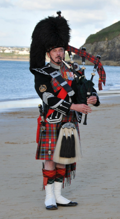 Bagpiper's full dress uniform