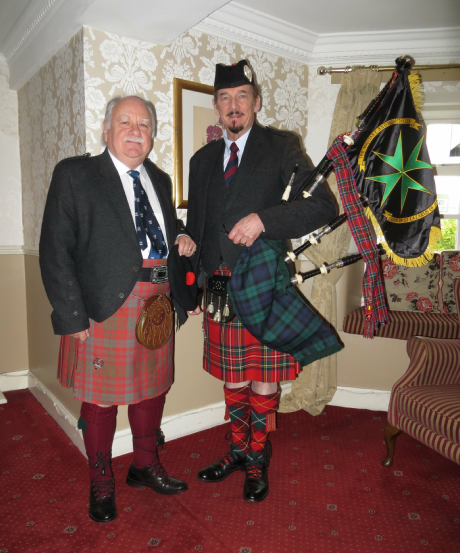 Charles Ross, Baron of Biggar & Pipe Major David Waterton-Anderson